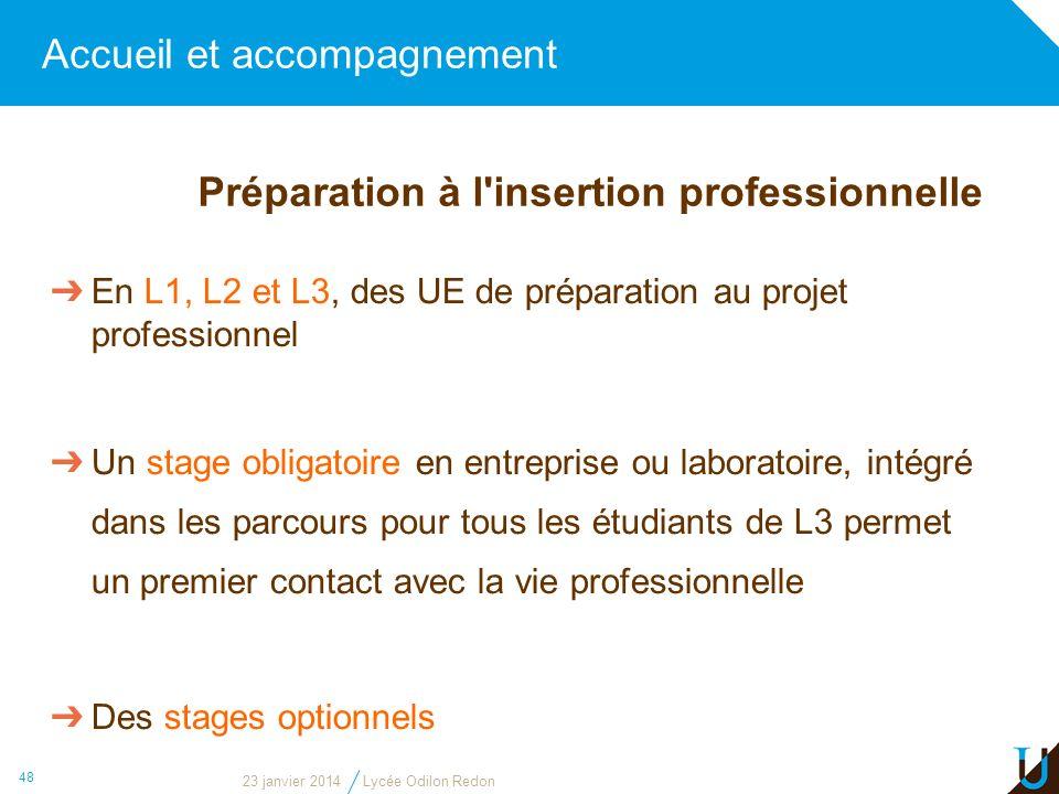 Accueil et accompagnement 48 En L1, L2 et L3, des UE de préparation au projet professionnel Un stage obligatoire en entreprise ou laboratoire, intégré
