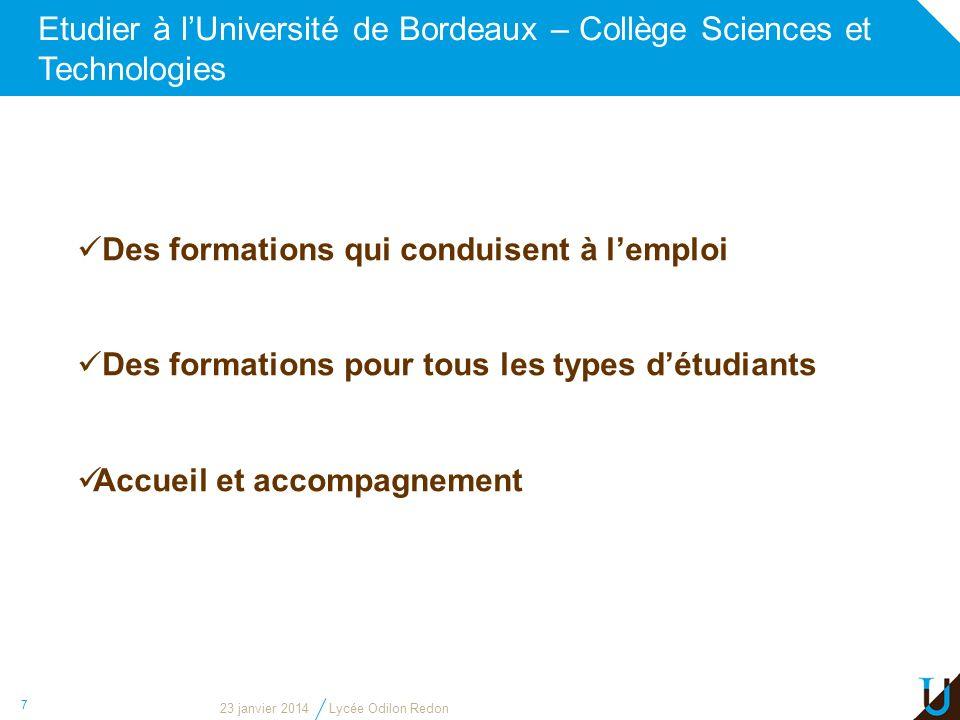 Etudier à lUniversité de Bordeaux – Collège Sciences et Technologies 7 Des formations qui conduisent à lemploi Des formations pour tous les types détu