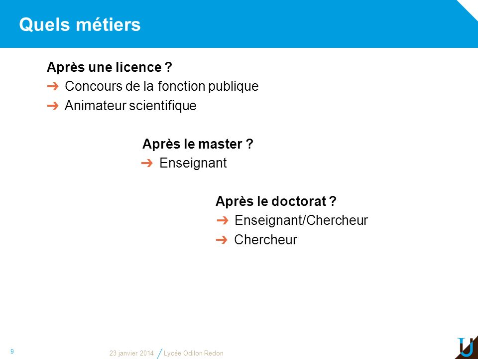 Quels métiers Après une licence ? Concours de la fonction publique Animateur scientifique Après le master ? Enseignant Après le doctorat ? Enseignant/