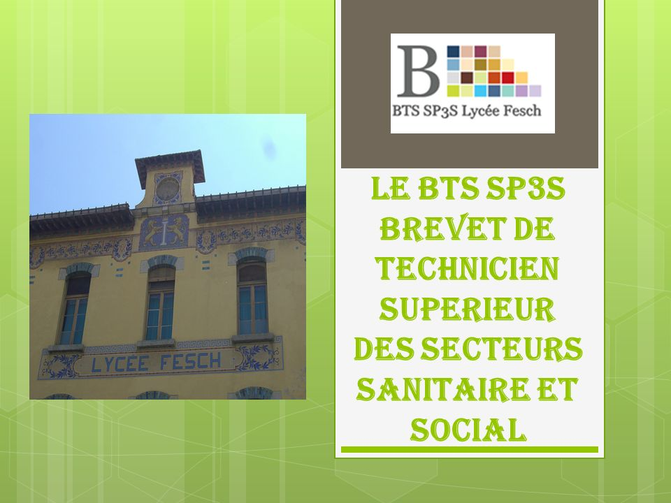 Un nouveau diplôme : Le BTS SP3S Le BTS SP3S a été créé en France en 2007, et en Corse en 2010.