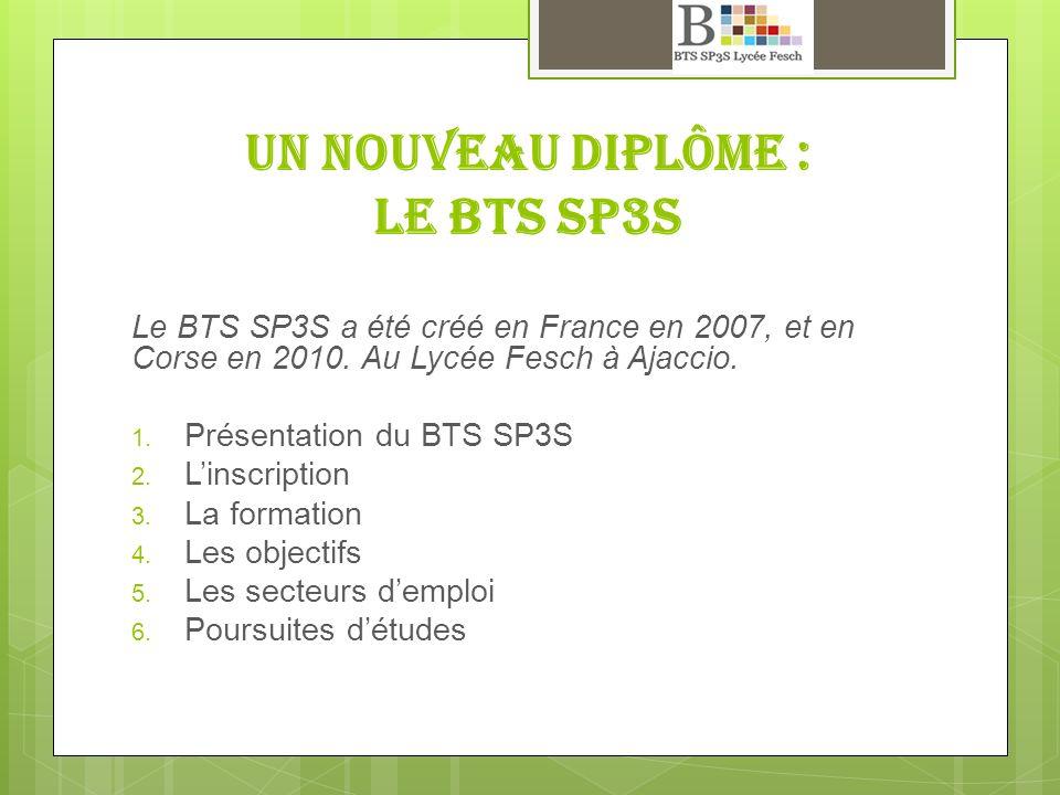 Un nouveau diplôme : Le BTS SP3S Le BTS SP3S a été créé en France en 2007, et en Corse en 2010. Au Lycée Fesch à Ajaccio. Présentation du BTS SP3S Lin