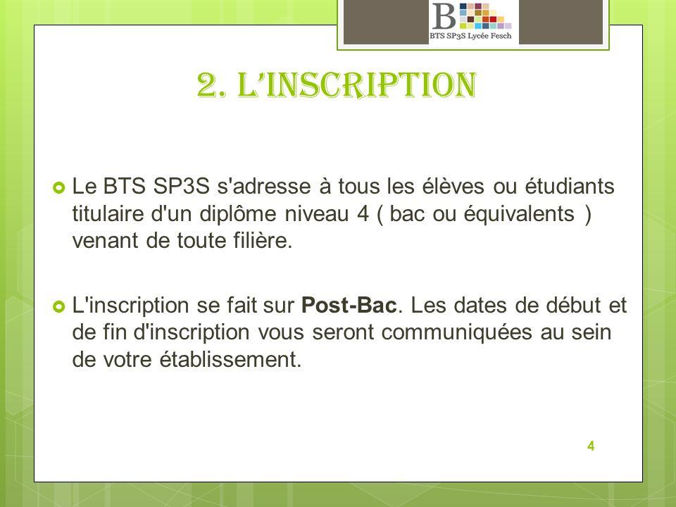 2. Linscription Le BTS SP3S s'adresse à tous les élèves ou étudiants titulaire d'un diplôme niveau 4 ( bac ou équivalents ) venant de toute filière. L