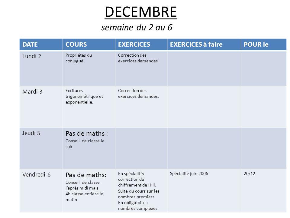 DECEMBRE semaine du 2 au 6 DATECOURSEXERCICESEXERCICES à fairePOUR le Lundi 2 Propriétés du conjugué.