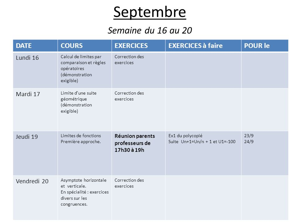 Septembre Semaine du 16 au 20 DATECOURSEXERCICESEXERCICES à fairePOUR le Lundi 16 Calcul de limites par comparaison et règles opératoires (démonstrati