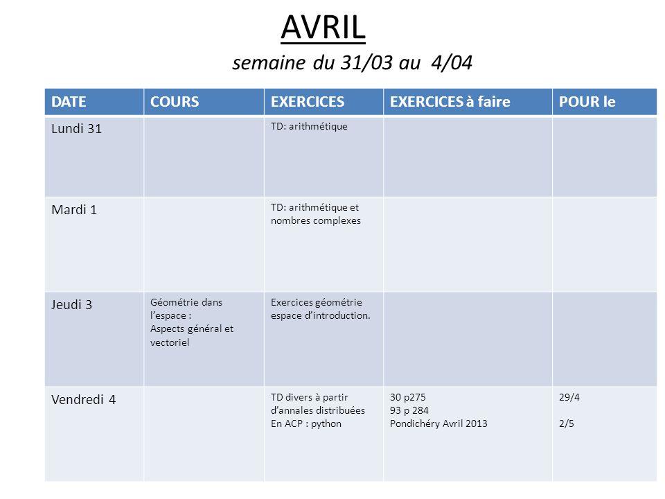AVRIL semaine du 31/03 au 4/04 DATECOURSEXERCICESEXERCICES à fairePOUR le Lundi 31 TD: arithmétique Mardi 1 TD: arithmétique et nombres complexes Jeud