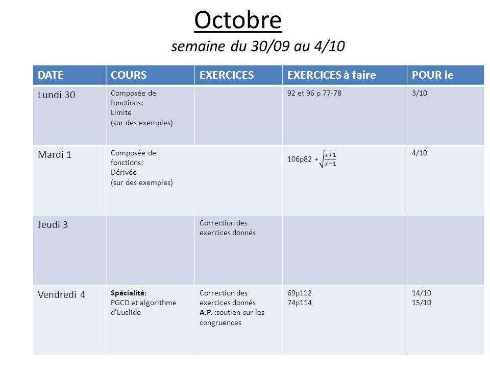 Octobre semaine du 30/09 au 4/10 DATECOURSEXERCICESEXERCICES à fairePOUR le Lundi 30 Composée de fonctions: Limite (sur des exemples) 92 et 96 p 77-783/10 Mardi 1 Composée de fonctions: Dérivée (sur des exemples) 4/10 Jeudi 3 Correction des exercices donnés Vendredi 4 Spécialité: PGCD et algorithme dEuclide Correction des exercices donnés A.P.