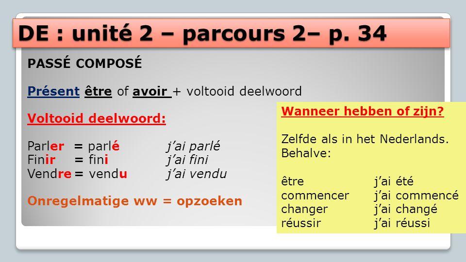 DE : unité 2 – parcours 2– p. 34 PASSÉ COMPOSÉ Présent être of avoir + voltooid deelwoord Voltooid deelwoord: Parler = parléjai parlé Finir= finijai f