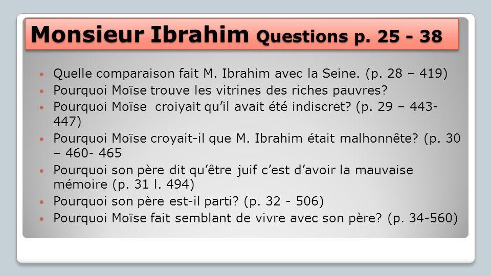 Monsieur Ibrahim Questions p. 25 - 38 Quelle comparaison fait M. Ibrahim avec la Seine. (p. 28 – 419) Pourquoi Moïse trouve les vitrines des riches pa