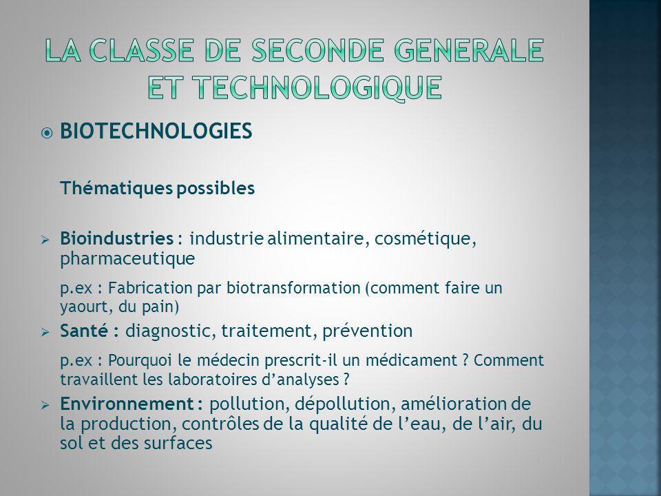 BIOTECHNOLOGIES Thématiques possibles Bioindustries : industrie alimentaire, cosmétique, pharmaceutique p.ex : Fabrication par biotransformation (comm
