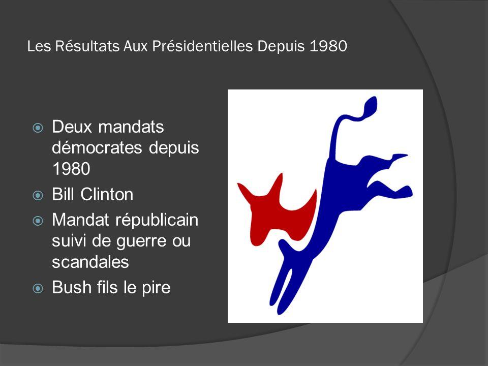 Les Résultats Aux Présidentielles Depuis 1980 Deux mandats démocrates depuis 1980 Bill Clinton Mandat républicain suivi de guerre ou scandales Bush fi