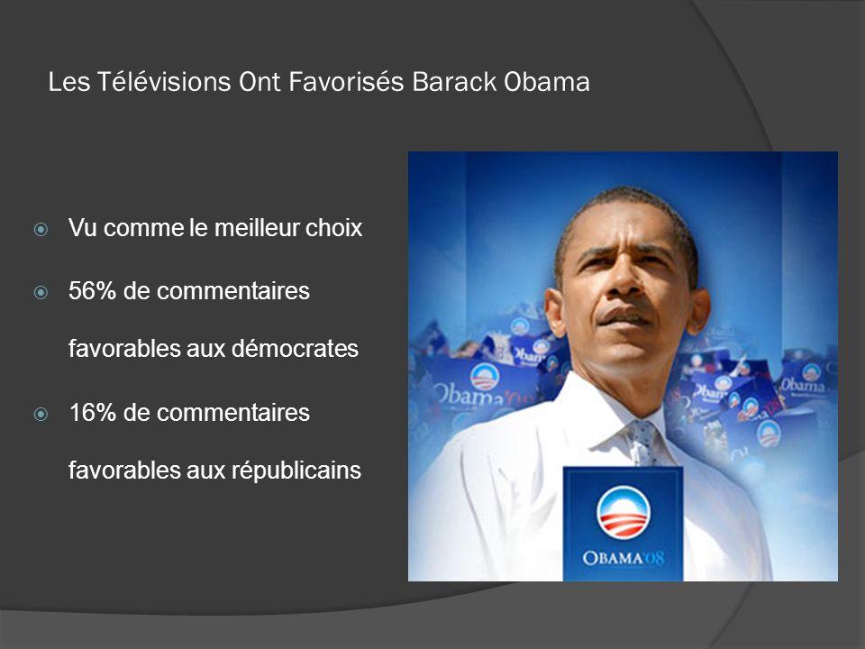 Les Télévisions Ont Favorisés Barack Obama Vu comme le meilleur choix 56% de commentaires favorables aux démocrates 16% de commentaires favorables aux