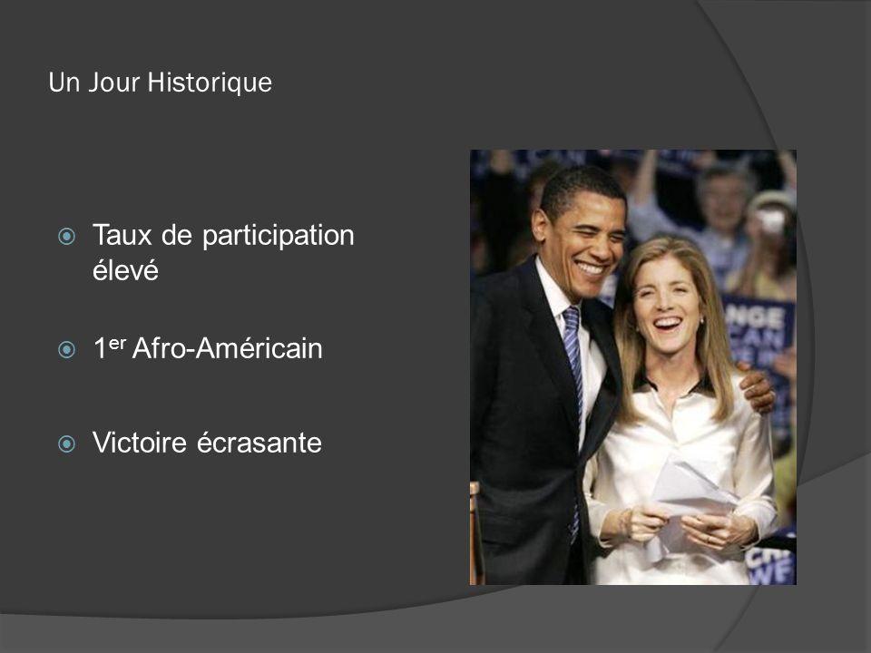 Un Jour Historique Taux de participation élevé 1 er Afro-Américain Victoire écrasante