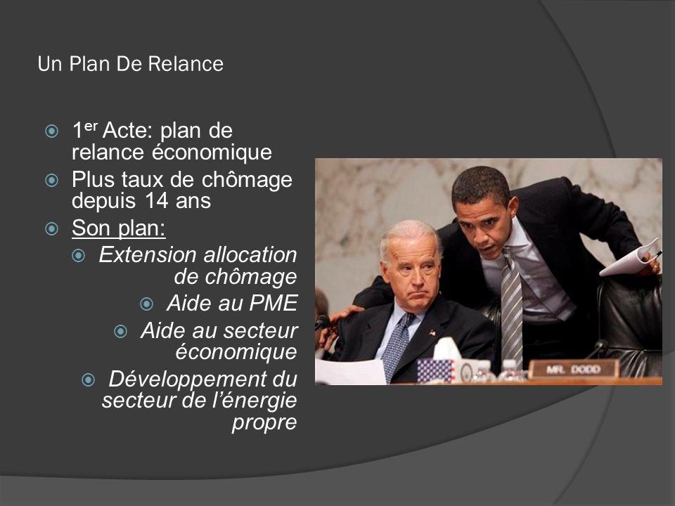 Un Plan De Relance 1 er Acte: plan de relance économique Plus taux de chômage depuis 14 ans Son plan: Extension allocation de chômage Aide au PME Aide