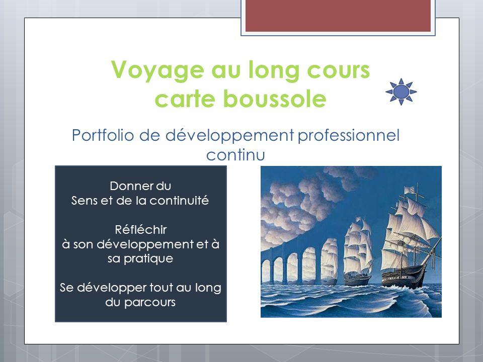 Voyage au long cours carte boussole Portfolio de développement professionnel continu Donner du Sens et de la continuité Réfléchir à son développement