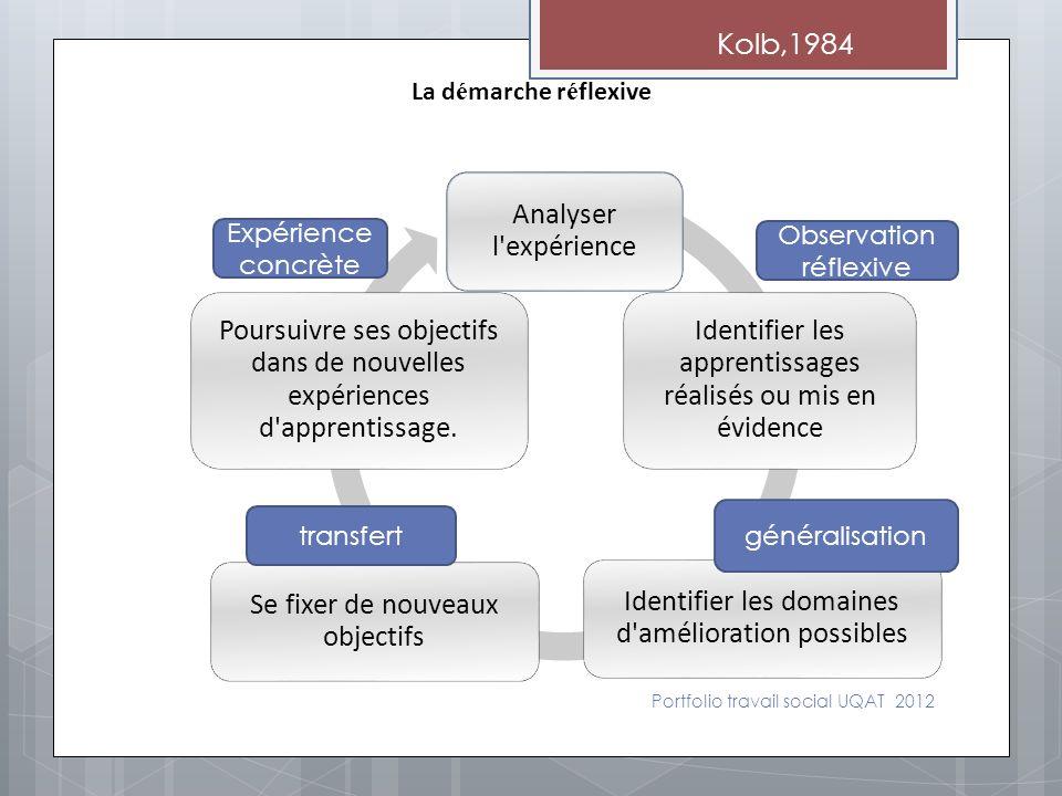 Portfolio travail social UQAT 2012 Analyser l'expérience Identifier les apprentissages réalisés ou mis en évidence Identifier les domaines d'améliorat