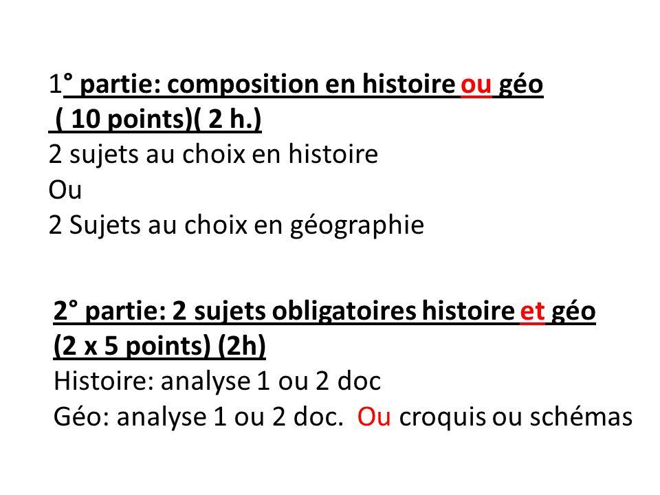 1° partie: composition en histoire ou géo ( 10 points)( 2 h.) 2 sujets au choix en histoire Ou 2 Sujets au choix en géographie 2° partie: 2 sujets obl