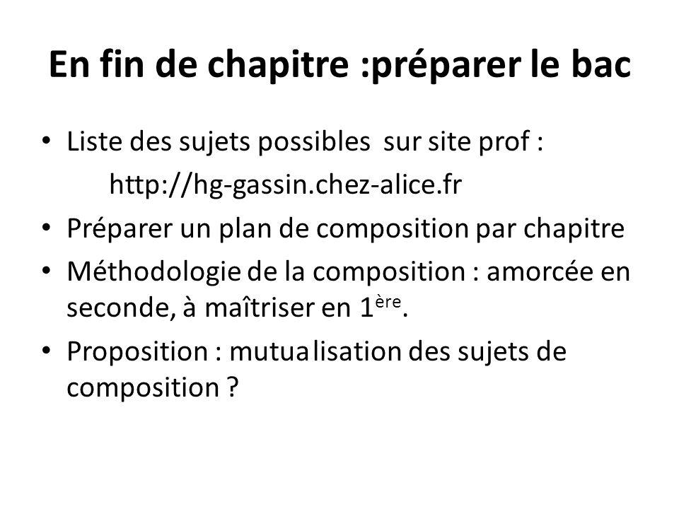 En fin de chapitre :préparer le bac Liste des sujets possibles sur site prof : http://hg-gassin.chez-alice.fr Préparer un plan de composition par chap