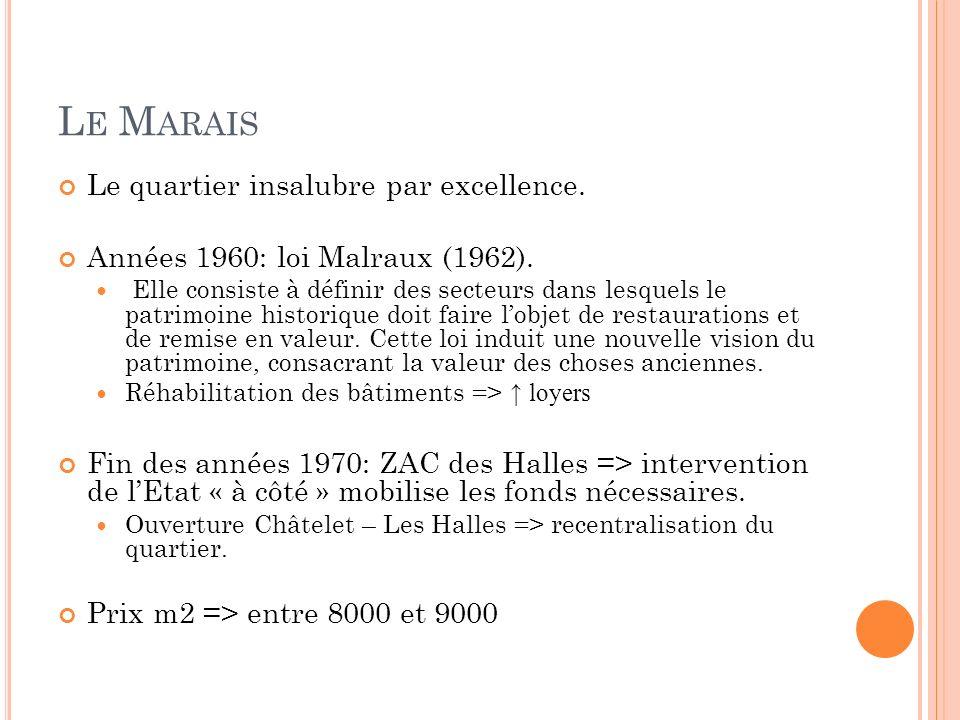 L E M ARAIS Le quartier insalubre par excellence. Années 1960: loi Malraux (1962). Elle consiste à définir des secteurs dans lesquels le patrimoine hi