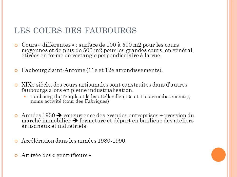 LES COURS DES FAUBOURGS Cours « différentes » : surface de 100 à 500 m2 pour les cours moyennes et de plus de 500 m2 pour les grandes cours, en généra