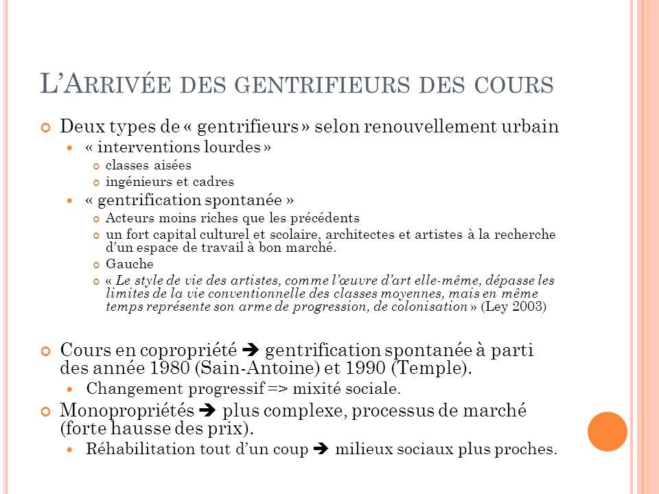 LA RRIVÉE DES GENTRIFIEURS DES COURS Deux types de « gentrifieurs » selon renouvellement urbain « interventions lourdes » classes aisées ingénieurs et