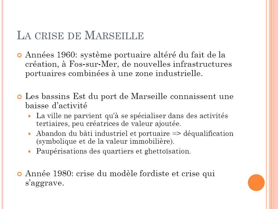 L A CRISE DE M ARSEILLE Années 1960: système portuaire altéré du fait de la création, à Fos-sur-Mer, de nouvelles infrastructures portuaires combinées