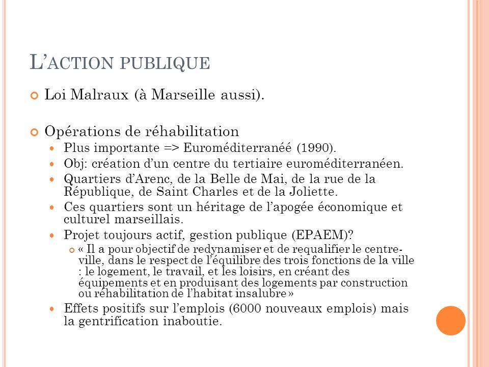 L ACTION PUBLIQUE Loi Malraux (à Marseille aussi). Opérations de réhabilitation Plus importante => Euroméditerranéé (1990). Obj: création dun centre d