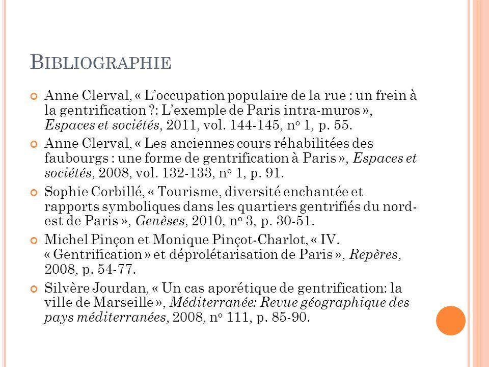 B IBLIOGRAPHIE Anne Clerval, « Loccupation populaire de la rue: un frein à la gentrification?: Lexemple de Paris intra-muros », Espaces et sociétés, 2