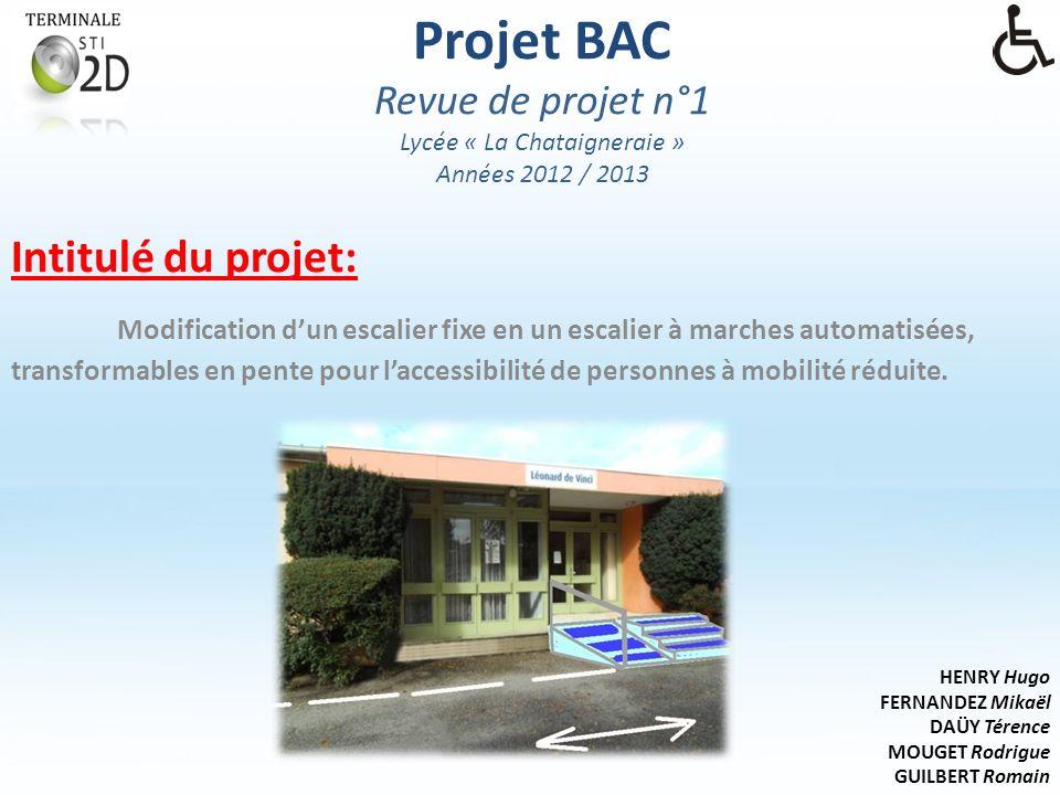 Projet BAC Revue de projet n°1 Lycée « La Chataigneraie » Années 2012 / 2013 Intitulé du projet: Modification dun escalier fixe en un escalier à marches automatisées, transformables en pente pour laccessibilité de personnes à mobilité réduite.