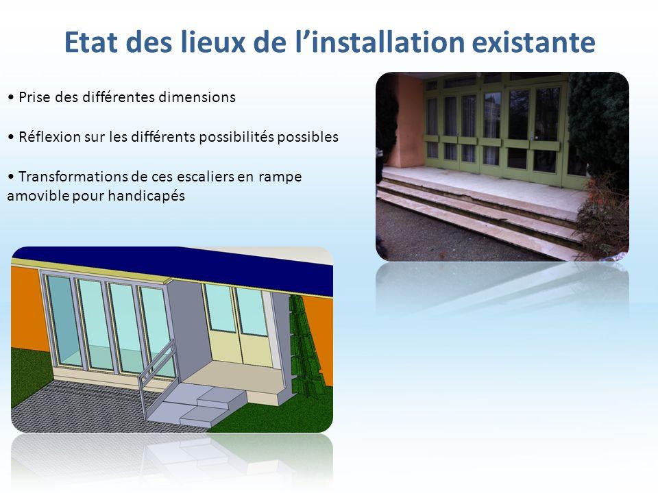 Etat des lieux de linstallation existante Prise des différentes dimensions Réflexion sur les différents possibilités possibles Transformations de ces escaliers en rampe amovible pour handicapés