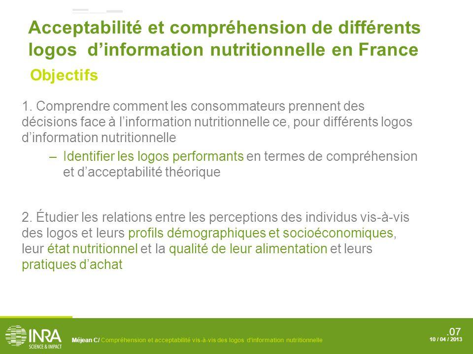 .07 Acceptabilité et compréhension de différents logos dinformation nutritionnelle en France 1.