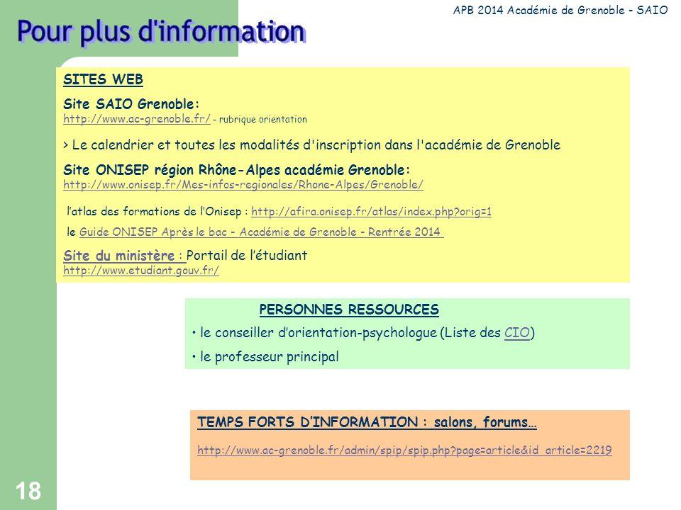 18 SITES WEB Site SAIO Grenoble: http://www.ac-grenoble.fr/ - rubrique orientation http://www.ac-grenoble.fr/ > Le calendrier et toutes les modalités d inscription dans l académie de Grenoble Site ONISEP région Rhône-Alpes académie Grenoble: http://www.onisep.fr/Mes-infos-regionales/Rhone-Alpes/Grenoble/ http://www.onisep.fr/Mes-infos-regionales/Rhone-Alpes/Grenoble/ latlas des formations de lOnisep : http://afira.onisep.fr/atlas/index.php?orig=1http://afira.onisep.fr/atlas/index.php?orig=1 le Guide ONISEP Après le bac - Académie de Grenoble - Rentrée 2014Guide ONISEP Après le bac - Académie de Grenoble - Rentrée 2014 Site du ministère : Site du ministère : Portail de létudiant http://www.etudiant.gouv.fr/ APB 2014 Académie de Grenoble - SAIO PERSONNES RESSOURCES le conseiller dorientation-psychologue (Liste des CIO)CIO le professeur principal TEMPS FORTS DINFORMATION : salons, forums… http://www.ac-grenoble.fr/admin/spip/spip.php?page=article&id_article=2219