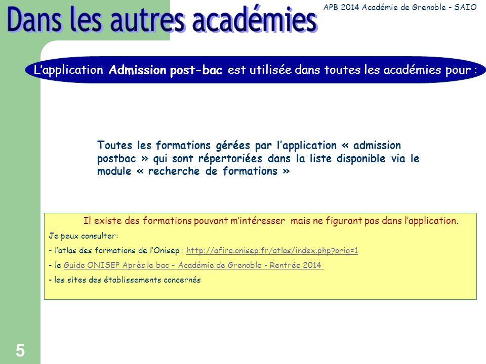 5 Toutes les formations gérées par lapplication « admission postbac » qui sont répertoriées dans la liste disponible via le module « recherche de formations » Il existe des formations pouvant mintéresser mais ne figurant pas dans lapplication.