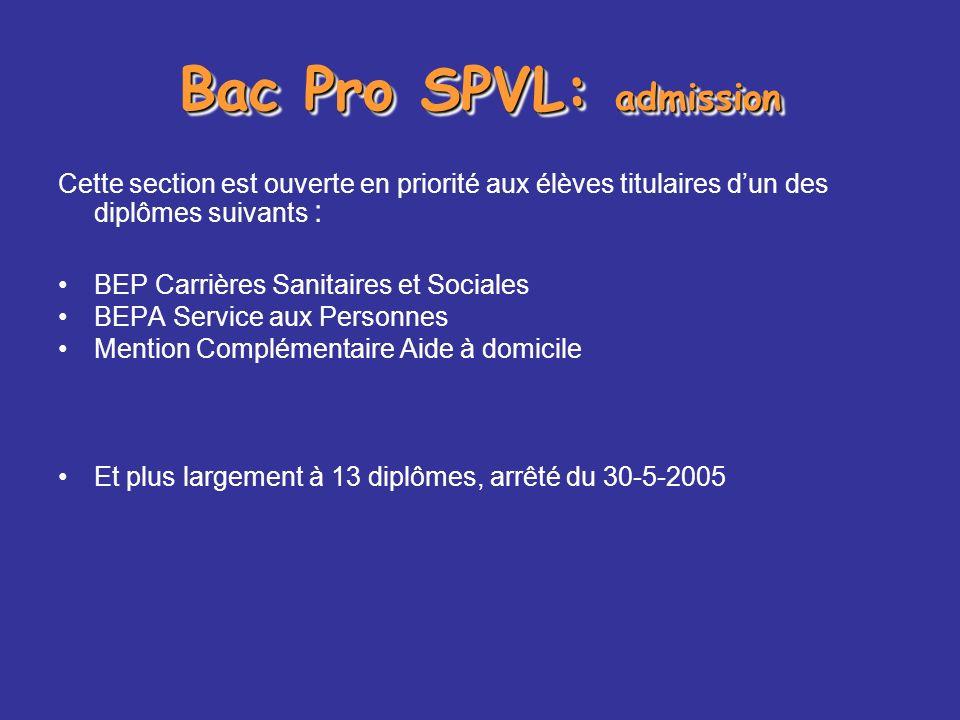 Bac Pro SPVL: admission Cette section est ouverte en priorité aux élèves titulaires dun des diplômes suivants : BEP Carrières Sanitaires et Sociales B
