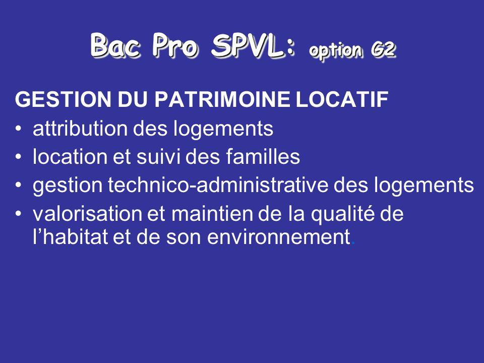 Bac Pro SPVL: option G2 GESTION DU PATRIMOINE LOCATIF attribution des logements location et suivi des familles gestion technico-administrative des log