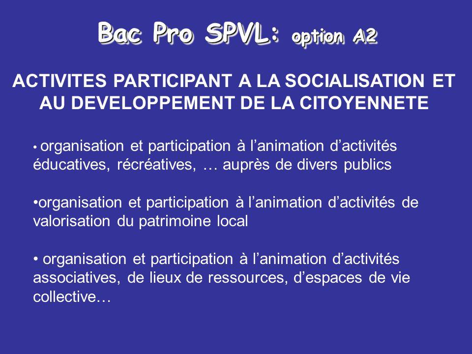 Bac Pro SPVL: option A2 ACTIVITES PARTICIPANT A LA SOCIALISATION ET AU DEVELOPPEMENT DE LA CITOYENNETE organisation et participation à lanimation dact