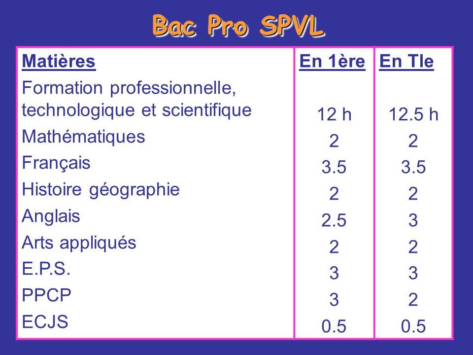 Bac Pro SPVL Matières Formation professionnelle, technologique et scientifique Mathématiques Français Histoire géographie Anglais Arts appliqués E.P.S