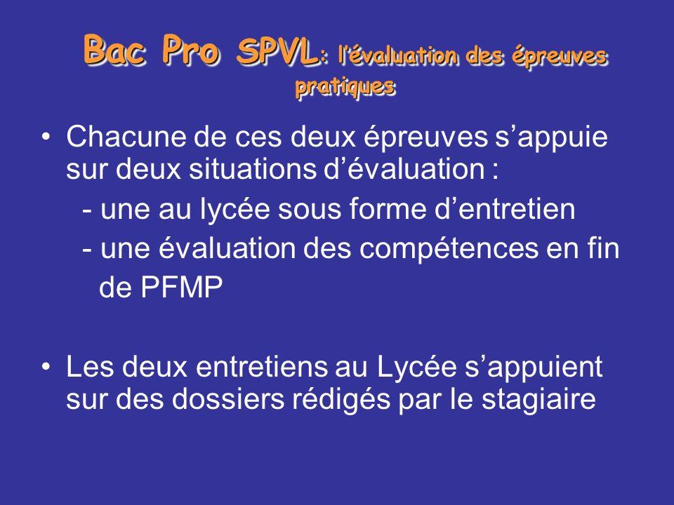 Bac Pro SPVL : lévaluation des épreuves pratiques Chacune de ces deux épreuves sappuie sur deux situations dévaluation : - une au lycée sous forme den
