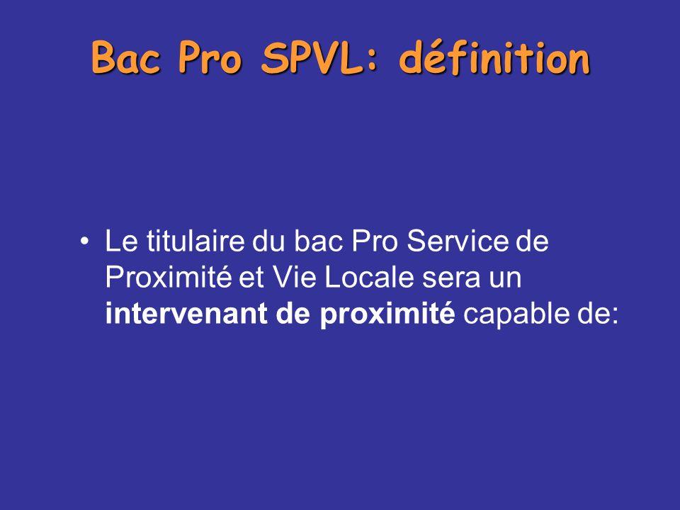 Le titulaire du bac Pro Service de Proximité et Vie Locale sera un intervenant de proximité capable de: Bac Pro SPVL: définition