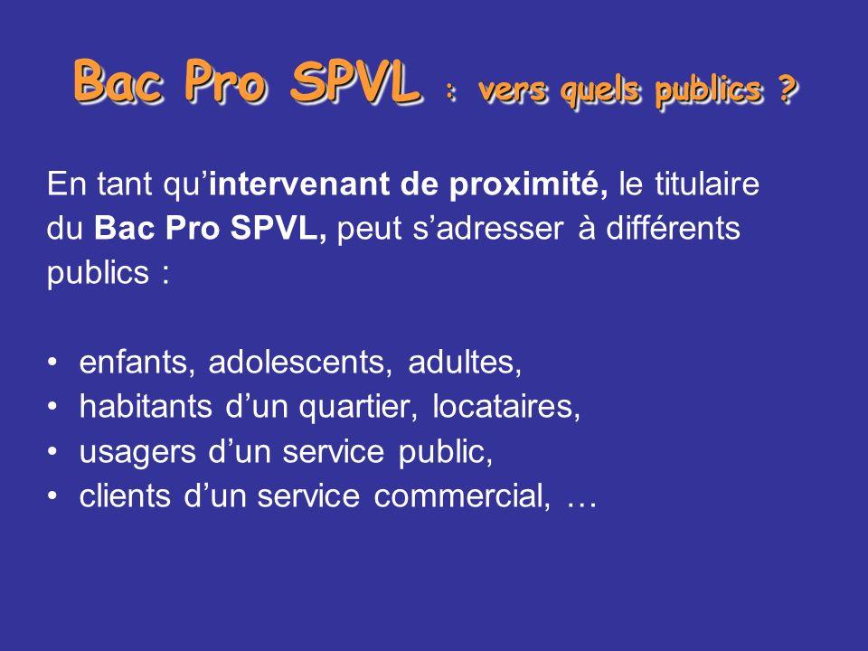 Bac Pro SPVL : vers quels publics ? En tant quintervenant de proximité, le titulaire du Bac Pro SPVL, peut sadresser à différents publics : enfants, a