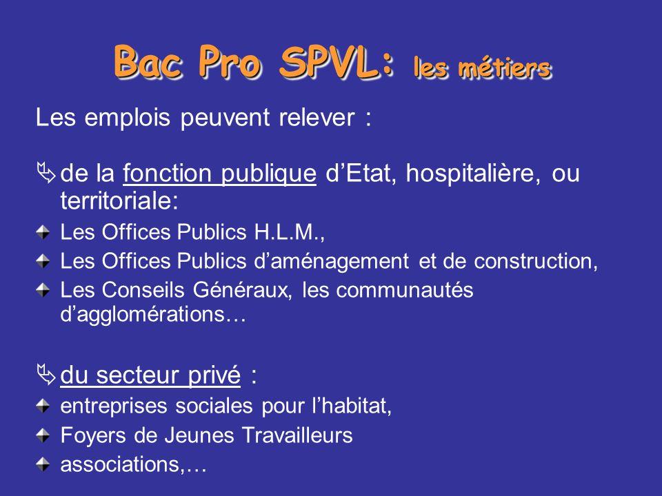Bac Pro SPVL: les métiers Les emplois peuvent relever : de la fonction publique dEtat, hospitalière, ou territoriale: Les Offices Publics H.L.M., Les