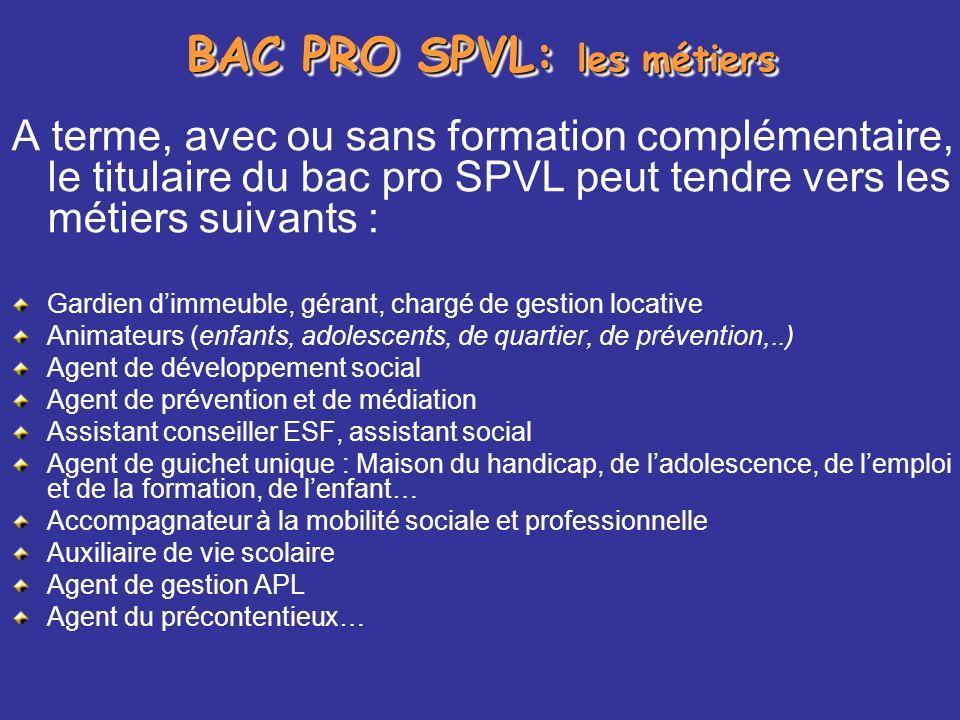 BAC PRO SPVL: les métiers A terme, avec ou sans formation complémentaire, le titulaire du bac pro SPVL peut tendre vers les métiers suivants : Gardien