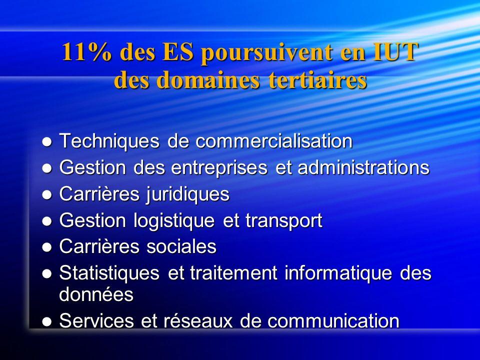 11% des ES poursuivent en IUT des domaines tertiaires Techniques de commercialisation Techniques de commercialisation Gestion des entreprises et admin
