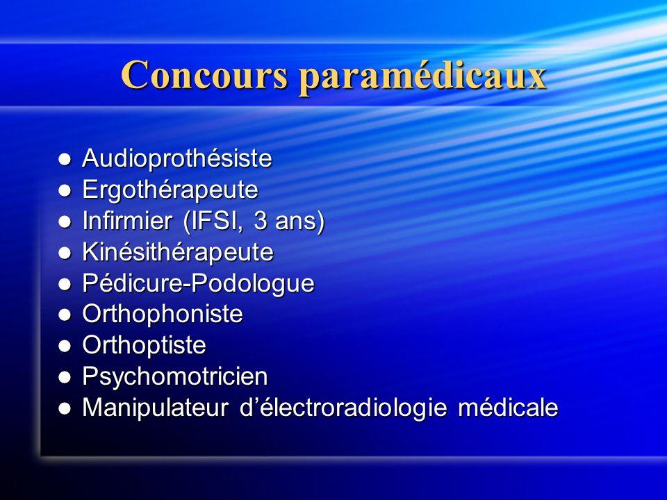Concours paramédicaux Audioprothésiste Audioprothésiste Ergothérapeute Ergothérapeute Infirmier (IFSI, 3 ans) Infirmier (IFSI, 3 ans) Kinésithérapeute