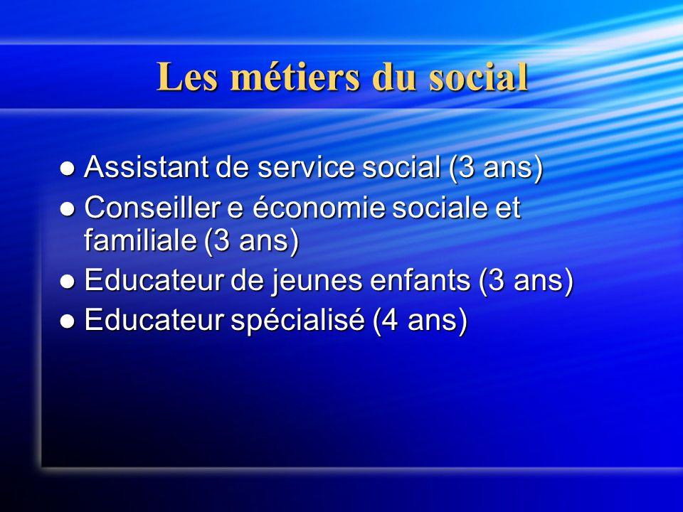 Les métiers du social Assistant de service social (3 ans) Assistant de service social (3 ans) Conseiller e économie sociale et familiale (3 ans) Conseiller e économie sociale et familiale (3 ans) Educateur de jeunes enfants (3 ans) Educateur de jeunes enfants (3 ans) Educateur spécialisé (4 ans) Educateur spécialisé (4 ans)