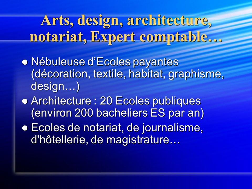 Arts, design, architecture, notariat, Expert comptable… Nébuleuse dEcoles payantes (décoration, textile, habitat, graphisme, design…) Nébuleuse dEcole