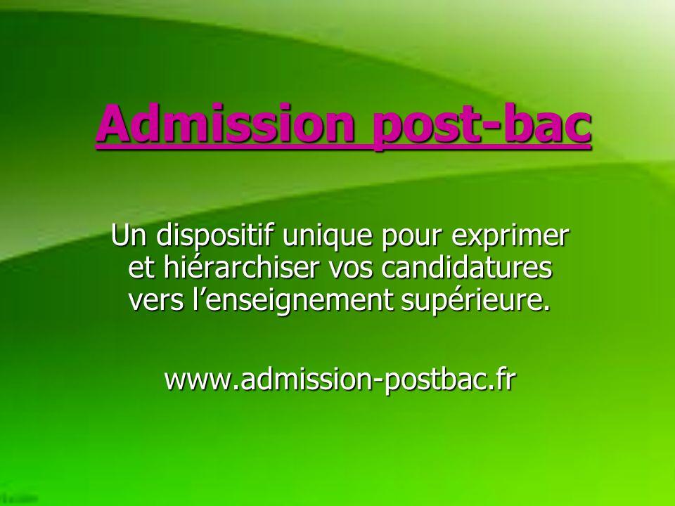 Admission post-bac Un dispositif unique pour exprimer et hiérarchiser vos candidatures vers lenseignement supérieure.