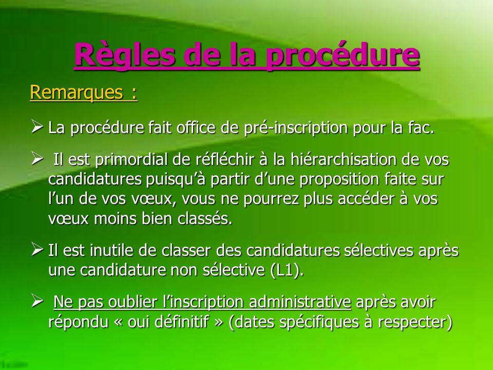 Règles de la procédure Remarques : La procédure fait office de pré-inscription pour la fac.