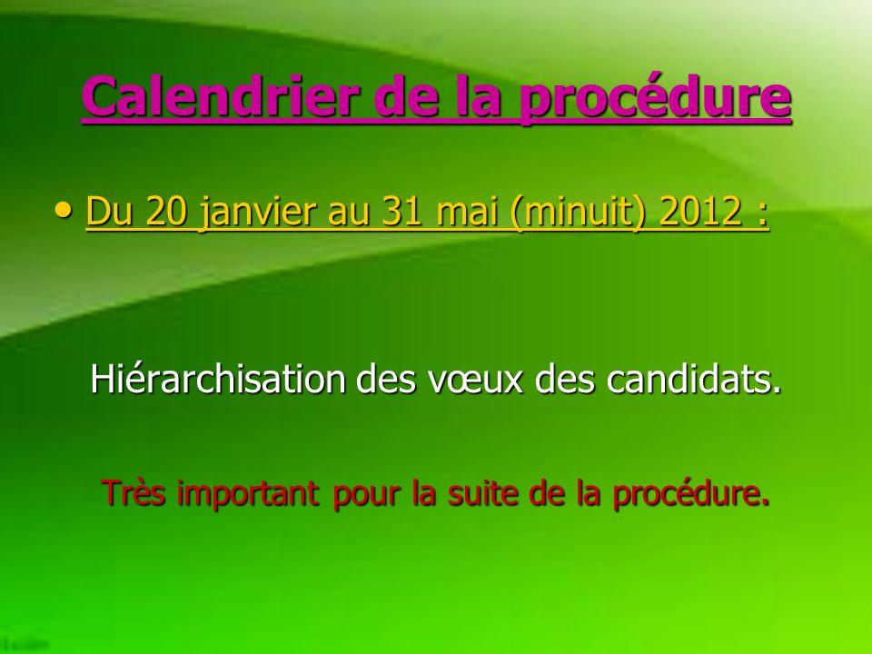 Calendrier de la procédure Du 20 janvier au 31 mai (minuit) 2012 : Du 20 janvier au 31 mai (minuit) 2012 : Hiérarchisation des vœux des candidats.