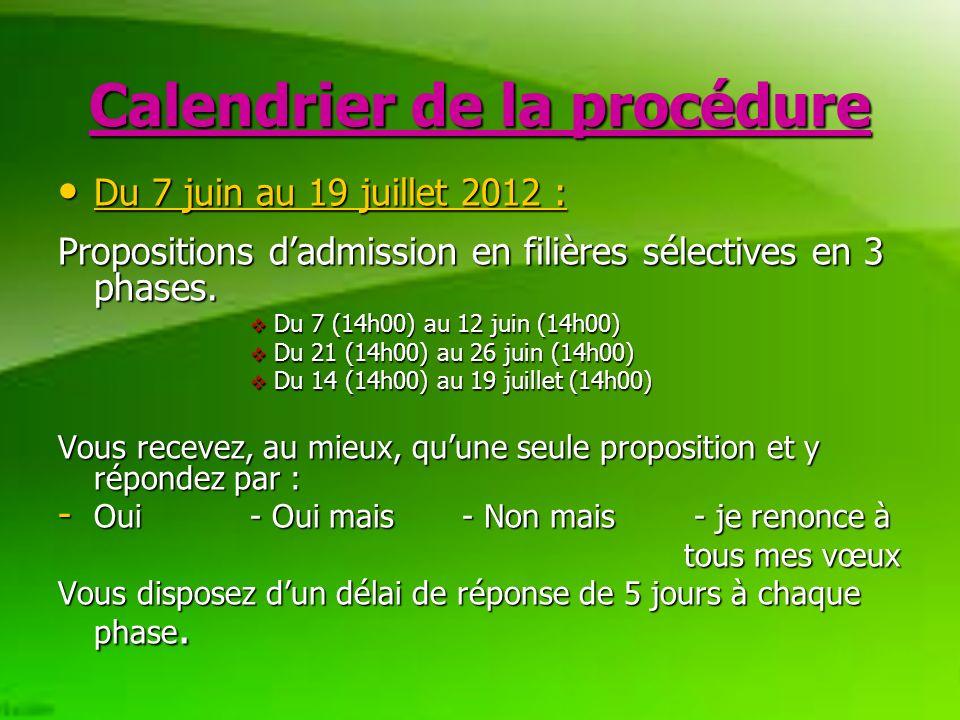 Calendrier de la procédure Du 7 juin au 19 juillet 2012 : Du 7 juin au 19 juillet 2012 : Propositions dadmission en filières sélectives en 3 phases.