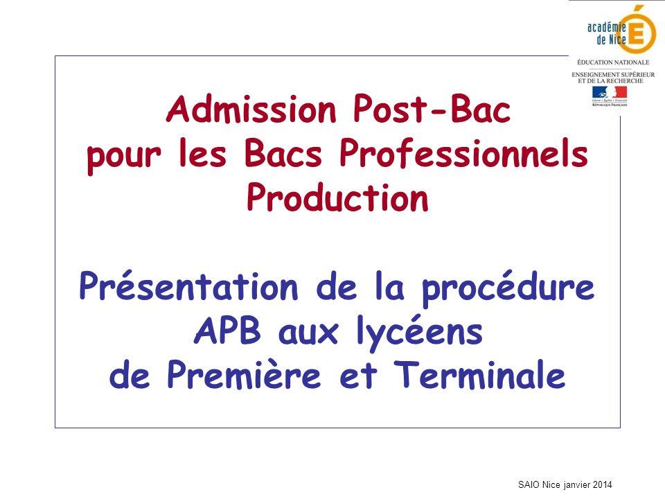 SAIO Nice janvier 2014 Admission Post-Bac pour les Bacs Professionnels Production Présentation de la procédure APB aux lycéens de Première et Terminale